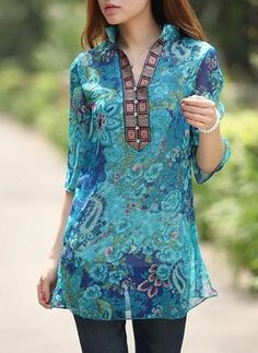 Women Sexy Floral Chiffon Blusas 2017 Vintage Embroidery V neck Sleeve Casual Blouse Tops Loose Long Shirt Dress Plus Size Chiffon Shirt Dress, Long Shirt Dress, Blouse Dress, Tunic Blouse, Blue Blouse, Floral Blouse, Looks Plus Size, Plus Size Womens Clothing, Plus Size Blouses