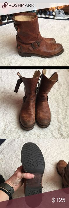 Frye Veronica boots Sz 7 Has wear. Scuffs and the back buckles are broken but not really noticeable. Price reflects condition Frye Shoes Combat & Moto Boots