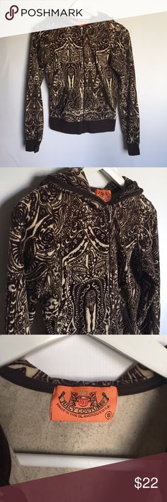 """Juicy Couture Brown and Beige Zip Up Hoodie sz S You are viewing a Juicy Couture dark brown and beige zip up hoodie track jacket in a size small. It features a beautiful paisley pattern and a silver """"J"""" zip up. It is in great used condition with no stains or holes. Juicy Couture Tops Sweatshirts & Hoodies"""