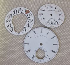 Distressed Porcelain Pocket Watch Dials/Faces.  Steampunk Findings. PatriciaInExcess S 326 by PatriciaInExcess on Etsy