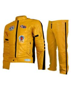 The stunning yellow Leather kill bill costume for men is the trendsetting outfit this season so get your hands on it right away. Yellow Leather, Real Leather, Kill Bill Costume, Bike Suit, Uma Thurman, Super Hero Costumes, Motorcycle Jacket, Leather Jacket, Superhero