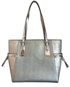 ebbebf812a48 2 Michael Kors Voyager E/w Medium Light Pewter Leather Tote Handbag for  sale online | eBay
