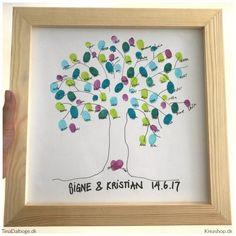 Gæstetræ DIY - et fint indslag med fingeraftryk fra alle gæsterTinadalbøge. Diy And Crafts, Scrap, Homemade, Simple, Frame, Blog, Inspiration, Tanker, Fester