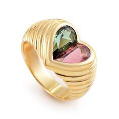 Bulgari Bvlgari Doppio Tondo 18K Yellow Gold Pink and Green Tourmaline Heart Ring   TrueFacet