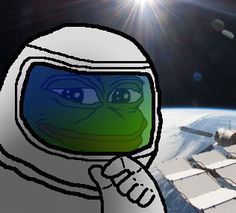 This is a rare pepe. This is the astropepe. It was sent into space to find X-ray Diffraction Pepe.