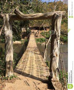 Woven Bamboo Bridge On Thailand Stream Stock Image - Image of bamboo, foot: 108081471 Tree Trunks, Bamboo, Thailand, Outdoor, Image, Outdoors, Outdoor Games, The Great Outdoors