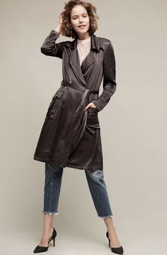 NWT Anthropologie Ghost Dark Gray Satin Belted Trench Midi Duster Coat Jacket M #Ghost #BeltedTrenchCoat
