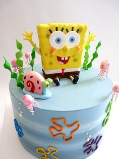 Spongebob and Gary cake. Learn how to create your own amazing cakes… Cute Cakes, Yummy Cakes, Fondant Cakes, Cupcake Cakes, Bolo Artificial, Spongebob Birthday Party, Birthday Cake, Salted Caramel Cupcakes, Character Cakes