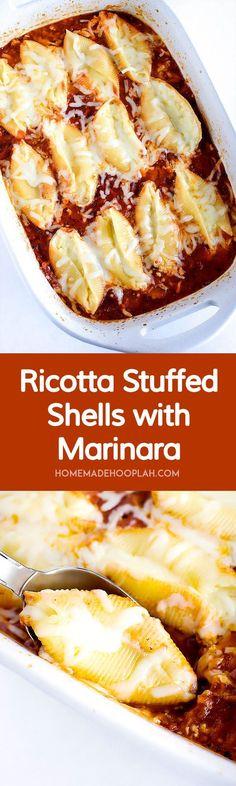 Ricotta Stuffed Shells with Marinara! Jumbo shells stuffed with Ricotta, mozzarella, and a filling of your choice, then baked in a homemade Marinara sauce. | http://HomemadeHooplah.com