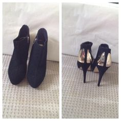 Dolce Vita Black Ankle Boots Dolce Vita Black Suede Ankle Boots This boot has  gold on the back , that give it a elegant look and 41/2 inch heel with platform front. The boot is very constable ,only been worn once.  No Trades,  No PayPal Dolce Vita Shoes Ankle Boots & Booties