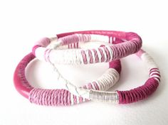 Nautical leather and hemp bangles, gift idea for her in berry, dusky pink and white, stacking bracelets, bohemian chic, summer fashion