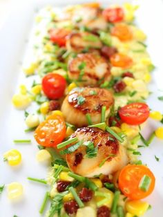 Pan-Seared Sea Scallops with Corn Puree Recipe - a delicious, decadent low-calorie meal full of protein and flavor. With dry-cured chorizo, cherry tomatoes, shallots Entree Recipes, Fish Recipes, Vegetable Recipes, Seafood Recipes, Gourmet Recipes, Cooking Recipes, Healthy Recipes, Gourmet Foods, Simple Recipes