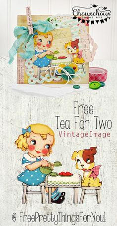 free-cute-vintage-image-tea-for-two-FPTFY by Free Pretty Things For You!, via Flickr