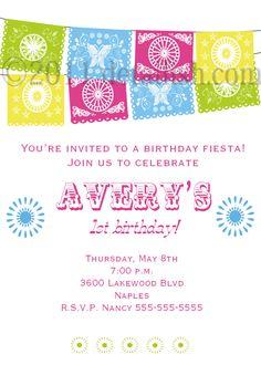 Mexican Fiesta Party Invitation Papel Picado - Customized - DIY Printable. $14.00, via Etsy.