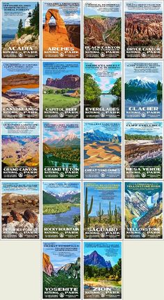 """Our vintage-style WPA National Park Postcards are x and printed on """"Conservation,"""" a recycled, domestically produced stock with soy based inks. These retro travel postcard sets represent each of the 72 posters created from Series D is available now! Gunnison National Park, Everglades National Park, Capitol Reef National Park, Grand Canyon National Park, Rocky Mountain National Park, Yosemite National Park, National Parks, Petrified Forest National Park, Great Basin"""