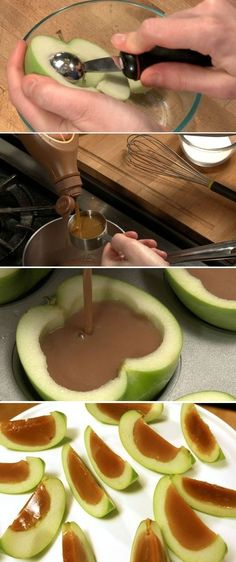Here are the products you will need: 5 apples 1 lemon 2 cups full of caramel 1 envelope knox gelatine  2 tablespoons corn syrup  Squeeze the lemon onto the apples and it will prevent them from becoming brown. Filling: mix the caramel, the corn syrup and the gelatine Put into a saucer pan and heat until it starts to boil. Let filling cool for 15min. Dry apples with paper towel and fill with caramel.