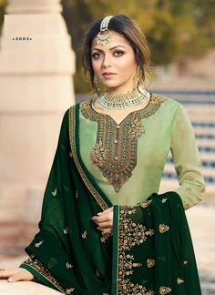 Green Ethic Embroidered Pakistani Gharara Suit features a beautiful designer satin georgette top with delicate traditional embroidery with zari and resham machine work that goes amazingly with the . Pakistani Gharara, Pakistani Dress Design, Pakistani Dresses, Indian Dresses, Sharara Suit, Salwar Kameez, Salwar Suits, Banarasi Suit, Plazzo Suits