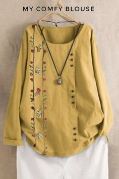 Floral Casual Polyester Round Neckline Long Sleeve Yellow Green Blue Shift Blouses General Buttons S M L XL XXL Blouses Floral Patches, Baggy, Kaftan, Summer Blouses, Comfy Casual, Blouses For Women, Casual Shirts, Vintage Ladies, Long Sleeve Shirts