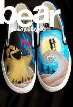 Jack, Sally, and Oogie Boogie! In love with these shoes, and this artist's technique.