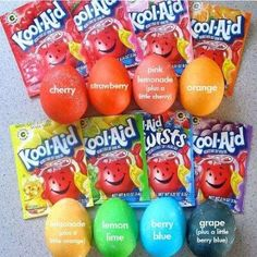 Use Kool-Aid to dye eggs. Mix one pack of Kool-aid and 2/3 cups water. Note: if you use the lemonade flavor, mix it with a little bit of orange to get a better yellow color, otherwise it's too light.*