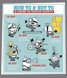 Despicable me and the minions safety poster Office Safety, Workplace Safety, Safety Quotes, Lab Safety Rules, Safety Slogans, Safety Week, Health And Safety Poster, Science Safety Posters, Safety Meeting