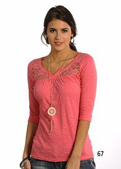 Panhandle Slim Juniors 3/4 Sleeve Knit with Lace Yokes