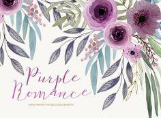 Watercolor floral clipart purple romance hand por LanaDreams