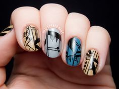 Spifster Inspired Delicate Line Nail Art by @chalkboardnails
