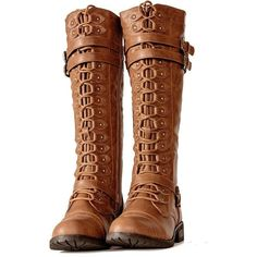 Cognac Knee High Lace up Combat Steampunk Western Boots Vintage Style... ($75) ❤ liked on Polyvore featuring shoes, boots, western style boots, western boots, cognac boots, steampunk boots and lace up cowboy boots