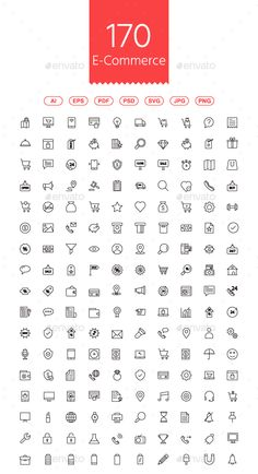 170 Shopping and E-commerce Line Icons - PSD, Transparent PNG, Layered PNG, Vector EPS, AI Illustrator