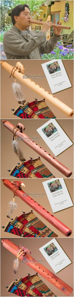 Native American flutes by Jonah Thompson flutes are genuine Navajo flutes with hand carved Indian totem wind blocks. Navajo flutes are pine and cedar flutes that are so popular in the southwest. Native flutes are perfect for meditation, dance or decoration. These finely crafted wooden Indian flutes also have a leather block tie down, beads and feathers as well as a smooth finish in cedar wood or natural, cherry or walnut colored pine.  See more at http://www.missiondelre