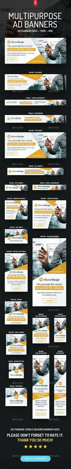 Master Design Multipurpose Ad Banners — Photoshop PSD #google adwords #design studio • Available here → https://graphicriver.net/item/master-design-multipurpose-ad-banners/14544733?ref=pxcr