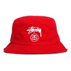 4770fc58b26 Stussy Stock Lock SU15 Bucket Hat Red ( 32) ❤ liked on Polyvore featuring  accessories