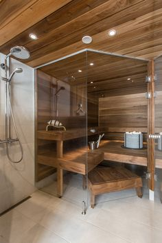 Good sauna designs and plans make your sauna project perfect. When you decide to design your own sauna, it is important to consider several factors. Heaters are the heart and soul of any sauna. Sauna Steam Room, Sauna Room, Steam Bath, Home Spa Room, Spa Rooms, Saunas, Design Sauna, Sauna Hammam, Piscina Spa