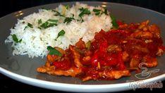 Recept Pikáns szaftos sertéscsíkok Spicy Recipes, Cooking Recipes, Mashed Potatoes, Toast, Pork, Pizza, Worcester, Rice, Chicken