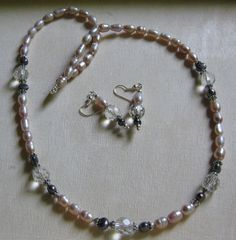Pearls and crystal necklace and earrings for a fundraiser