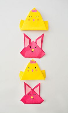 Origami Chicks and Bunnies in Egg Carton #kidscraft #origami #eastercrafts #papercraft