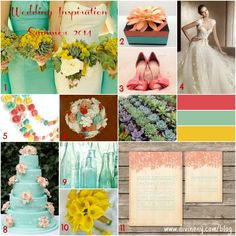 2014 WEDDING COLOR TRENDS | ... mint coral box 3 coral shoes 4 wedding dress 5 garland 6 wedding