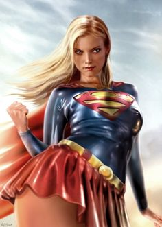 This is a pretty cute digital art wallpaper. It shows super girl painted realistically. Her blonde hair very pretty.
