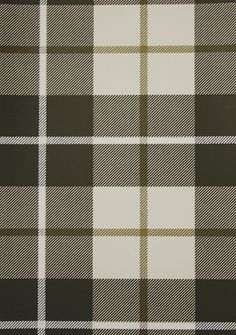 Ranold Wallpaper Tartan wallpaper in charcoal and off white with a brown box check