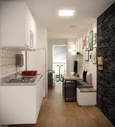 Projeto do escritório BTliê Arquitetura para decoração de uma Kit Net na Água Fria em São Paulo. Vista da cozinha ao entrar no local. Corner Bathtub, Arquitetura, Tiles, Corner Tub