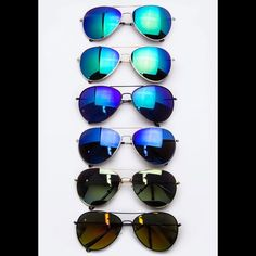 Mirrored aviator sunglasses - YOU PICK  Brand new retail item. You pick the color! From top to bottom (in the first photo): silver/blue-green, gold/blue-green, black/blue, silver/blue, gold/green, & black/yellow. The black/yellow combo is shown in the second and third picture, too.  one size fits most, UV 400 protection. *I just ordered these and they'll be in any day now* Boutique Accessories Sunglasses