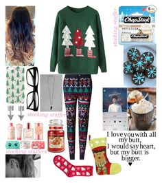 """3 Days till Christmas!!!!"" by oliviacoulanges ❤ liked on Polyvore featuring Topshop, WithChic, M&S Collection, SO, Chapstick, Express and Yankee Candle"