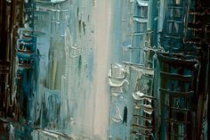 Modern 40 x 30 ORIGINAL City Acrylic Painting Teal by OsnatFineArt