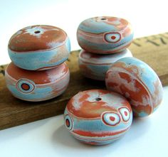 Handmade Polymer Clay Rondelle Beads Tequila by BeadsByEarthTones