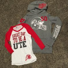 Victoria's Secret PINK Utah Utes shirt and hoodie This if for a University of Utah fan. Cute hoodie and baseball style tee. Both size medium in great condition. PINK Victoria's Secret Tops Sweatshirts & Hoodies