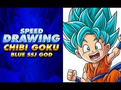 Drawing Chibi GOKU BLUE SSJ GOD   SSJ DIOS AZUL   Dragon Ball SUPER