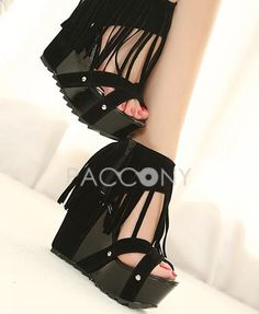 Roman Style Tassel High Heel Wedges With Thick Bottom