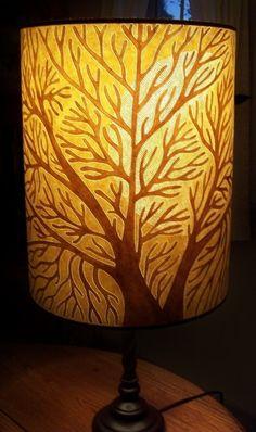 Full Moon Tree of Life Pierced Drum Lamp Shade 14x18 Hand Painted OOAK