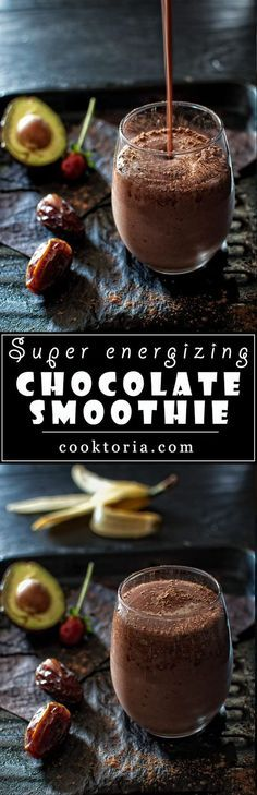 Packed with strawberries, banana and avocado, and sweetened with dates and a touch of honey - this Super Energizing Chocolate Smoothie will fill you up and satisfy your chocolate cravings.COM detox smoothie avocado Yummy Smoothies, Breakfast Smoothies, Yummy Drinks, Healthy Drinks, Smoothie Recipes, Healthy Snacks, Yummy Food, Making Smoothies, Simple Smoothies